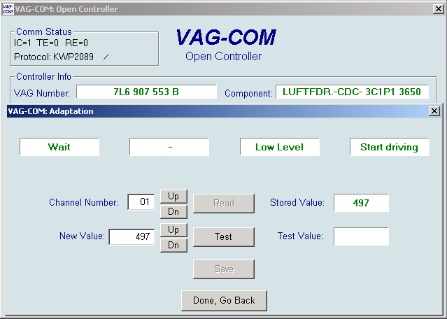 Ross-Tech: VAG-COM: Suspension Level Control Calibration