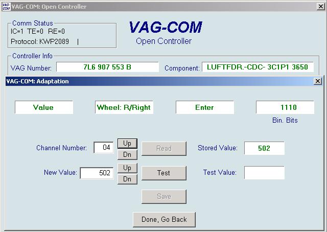 Ross Tech Vag Com Suspension Level Control Calibration