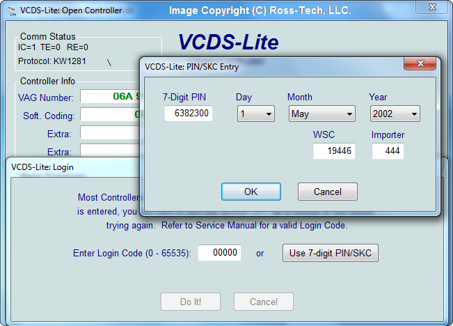 Ross-Tech: VCDS-Lite Manual: 7-digit PIN/SKC
