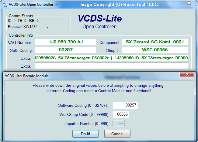 Ross-Tech: VCDS-Lite Manual: Coding