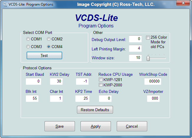 Ross-Tech: VCDS-Lite Manual: Program Options