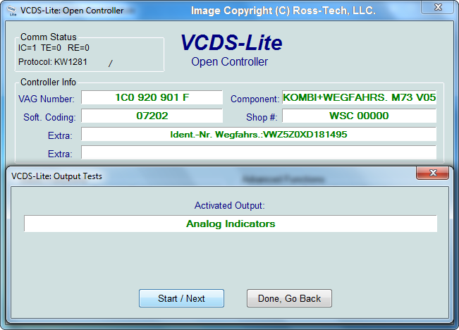 Ross-Tech: VCDS-Lite Manual: Output Tests