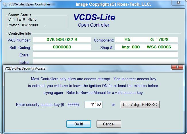 Ross-Tech: VCDS-Lite Manual: Security Access