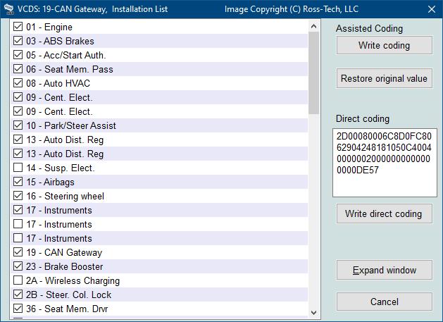 Ross-Tech: VCDS Tour: Gateway Installation List
