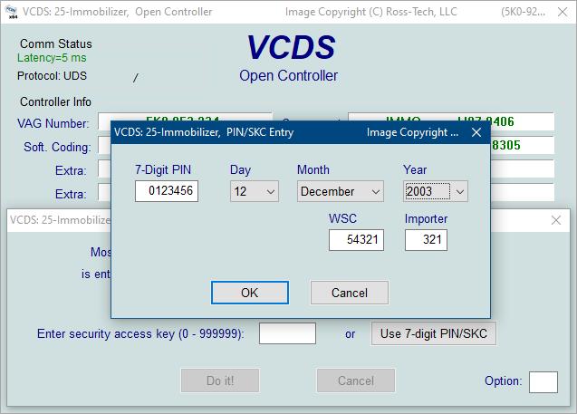 Ross-Tech: VCDS Tour: 7-digit PIN/SKC