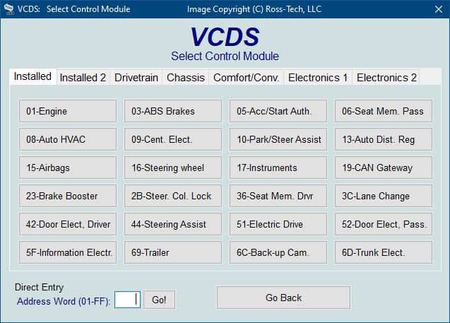 ross tech vcds tour select control module. Black Bedroom Furniture Sets. Home Design Ideas